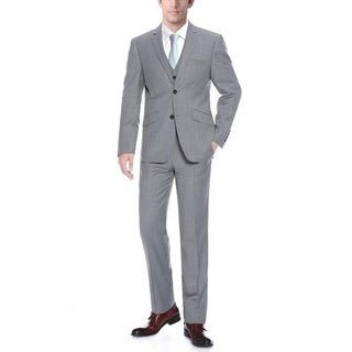 Verno Men's Grey Wool Slim-fit 3-piece Suit