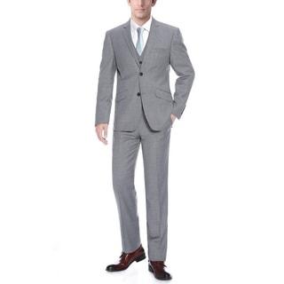 Verno Men's Grey Wool Slim-fit 3-piece Suit