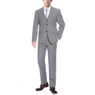 Verno Men's Grey Wool Classic Fit Three-piece Suit (Option: 38r)
