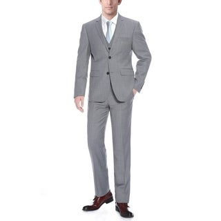 Verno Men's Grey Wool Classic Fit Three-piece Suit