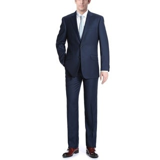 Verno Men's 100 Wool Navy Slim Fit Two Piece Suit (Jacket & Pants)