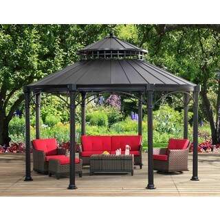 Sunjoy Windsor Round Hard-Top Black Gazebo