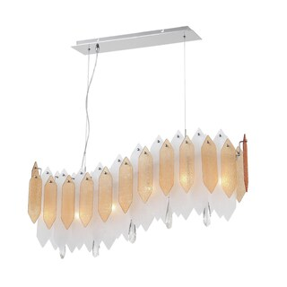Zeev Lighting Stratus Collection Transitional Chrome 6-light Chandelier With Textured Amber and Frosted Glass Panels