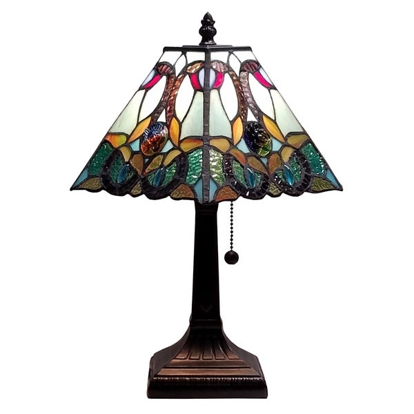 amora lighting tiffany style floral mission style table lamp free. Black Bedroom Furniture Sets. Home Design Ideas