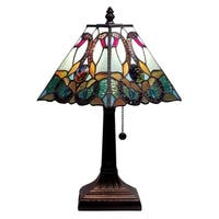 Amora Lighting Tiffany Style Floral Mission Style Table Lamp