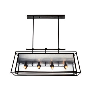 Zeev Lighting Occasus Collection Black/Silver Rustic Iron Transitional Chandelier