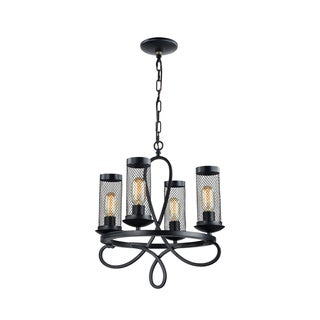 Zeev Lighting Kenosha Collection Rustic Black Metal 4-light Medium Base Edison Bulb Traditional Chandelier
