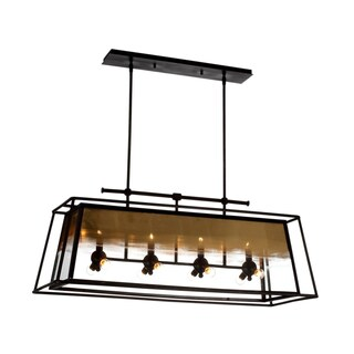 Zeev Lighting Occasus Collection Rustic Iron with Gold Leafed Glass Chandelier