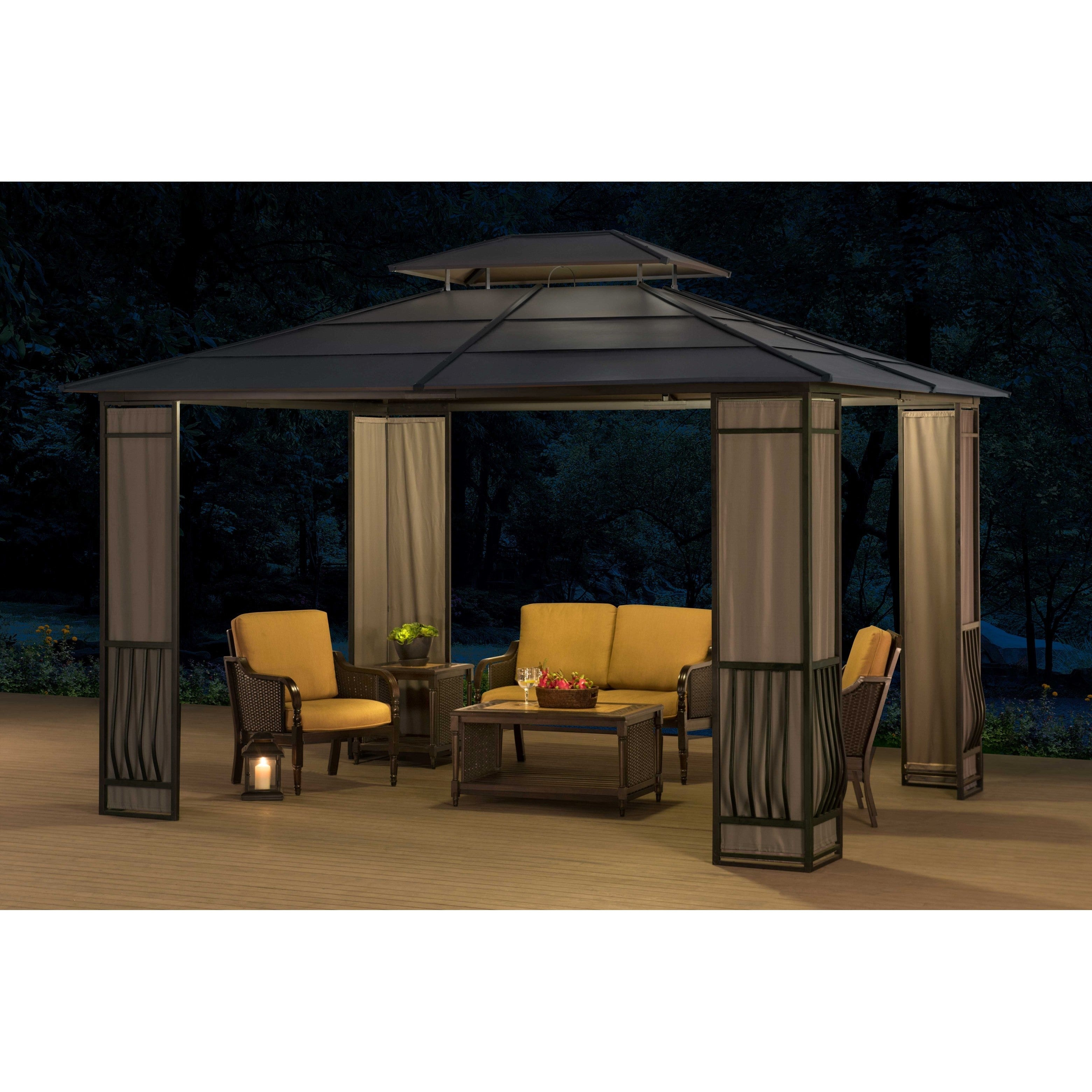 SunJoy Madison Black Top Gazebo (10' x 12'), Size 10 x 12...