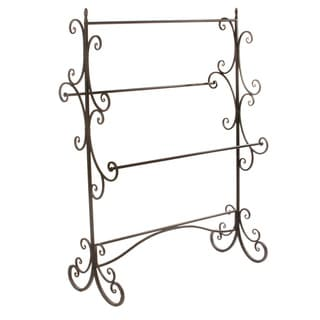 60.75-Inch Mahogany and Dark Grey Metal 4-Bar Rack