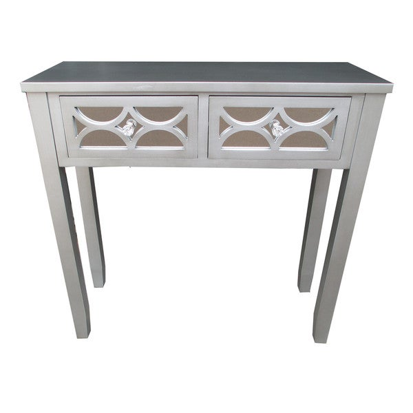 shop jeco grey wood 32 inch 2 drawer console table free shipping today overstock 13471017. Black Bedroom Furniture Sets. Home Design Ideas