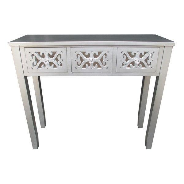 Jeco Grey Wooden 32 Inch 3 Drawer Console Table