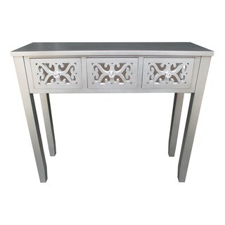 Jeco Grey Wooden 32-inch 3-drawer Console Table