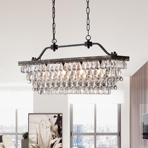 ikraam glass and bronze rectangular pendant light fixture 30 in