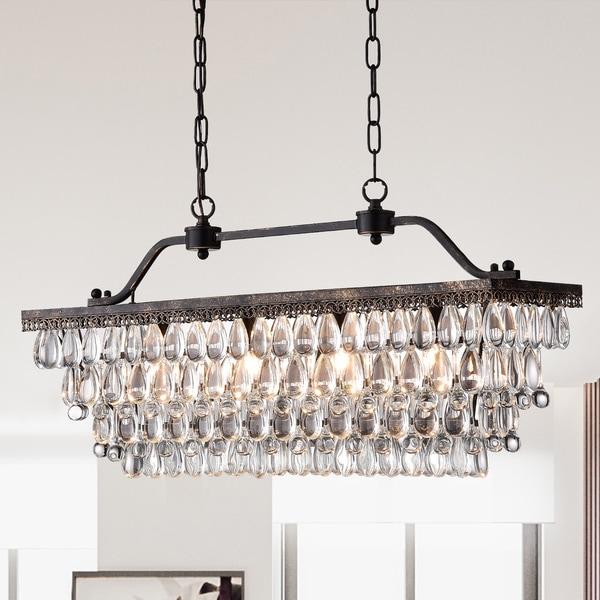 Ikraam Glass and Bronze Rectangular Pendant Light Fixture (30 in.)