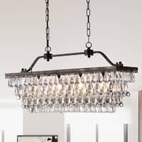 Ikraam Glass and Bronze Rectangular Pendant Light Fixture (30 in.)