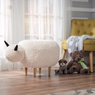 Pearcy Velvet Sheep Ottoman by Christopher Knight Home