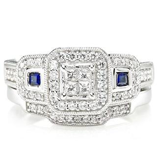 Platinaire Blue Sapphire and 1/2ct TDW Diamond Engagement Ring (I-J, I2)