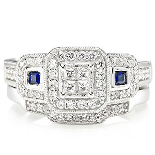 Platinaire Blue Sapphire and 1/2ct TDW Diamond Engagement Ring - White I-J