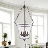 Reagan Nickel and Glass Jar-Shaped Pendant Light Fixture (15 in.) - Silver