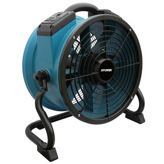 XPOWER X-34AR Variable Speed Sealed Motor Industrial Axial Fan with Power Outlets - Blue