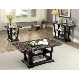 Furniture of America Phelan Contemporary 3-piece Faux Marble Top Dark Cherry Accent Table Set