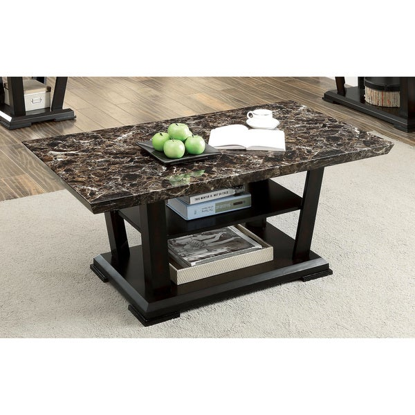 Furniture Of America Phelan Dark Cherry Faux Marble Top Coffee Table