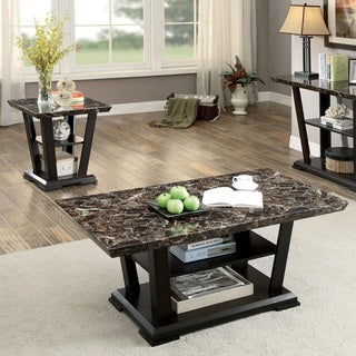 Furniture of America Phelan Contemporary 2-piece Faux Marble Top Dark Cherry Accent Table Set