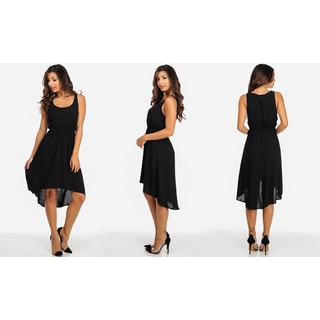 Juniors' Black Rayon Sleeveless High-low Casual Dress