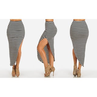 Women's White Striped Rayon and Spandex High-waist Asymmetrical Slit Skirt