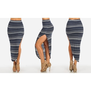 Women's Navy Rayon and Spandex High-waist Striped Asymmetrical Slit Skirt
