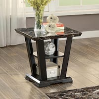 Furniture of America Phelan Contemporary Faux Marble Top Dark Cherry End Table