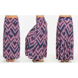 Fold-over Printed Maxi Skirt
