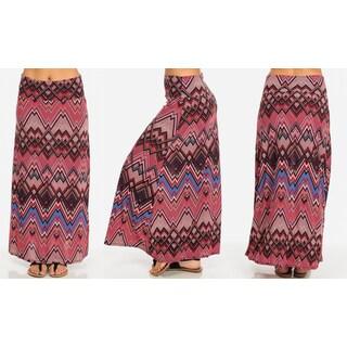 Fold-Over Printed Maxi Skirt