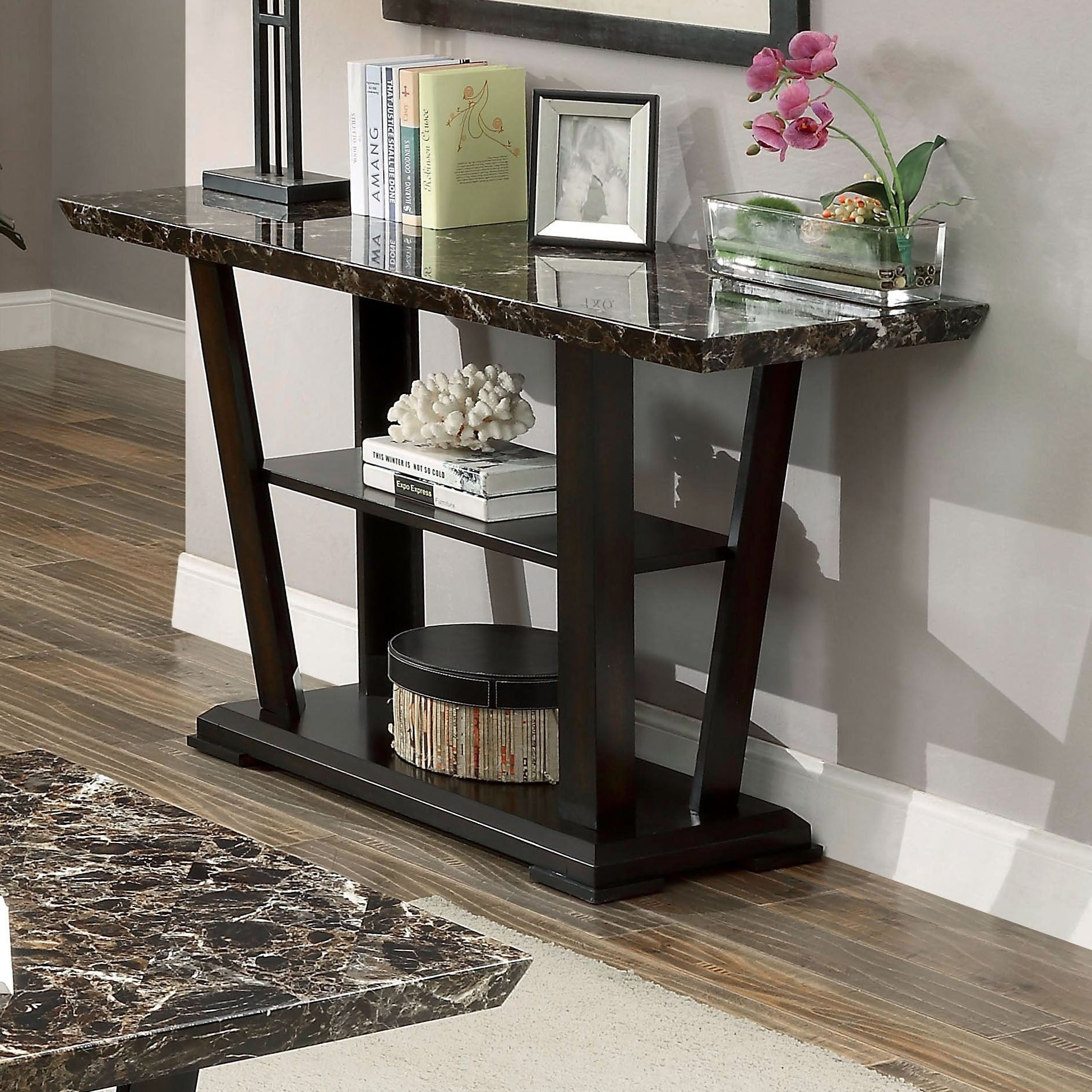 Furniture of America Phelan Contemporary Faux Marble Top ...