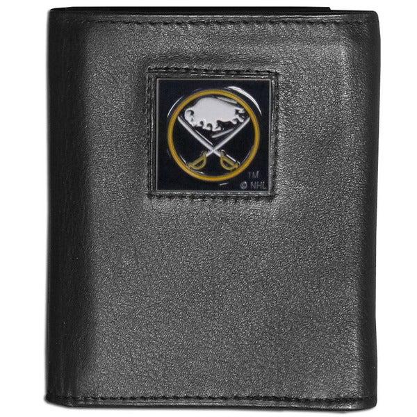 NFL Buffalo Sabres Black Leather Tri-fold Wallet