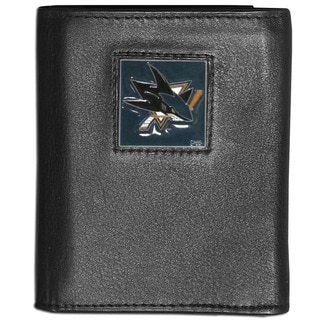 NFL San Jose Sharks Black Leather Tri-fold Wallet