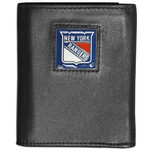 NFL New York Rangers Black Leather Tri-fold Wallet