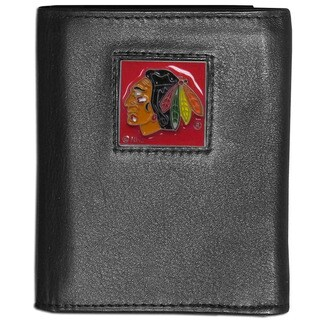 NFL Chicago Blackhawks Black Leather Tri-fold Wallet