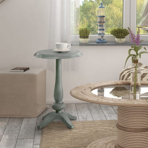 Furniture of America Gins Transitional Solid Wood Round Side Table