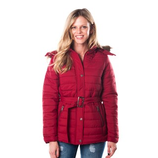 Ladies' Soft and Warm Belted Red-Hooded Jacket