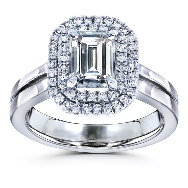 Annello by Kobelli 14k Gold 1ct Emerald Moissanite and 1/3ct TDW Diamonds Parallel Split Shank Engagement Ring. Opens flyout.