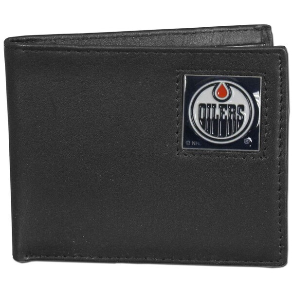 NHL Edmonton Oilers Black Leather Bi-fold Wallet in Gift Box
