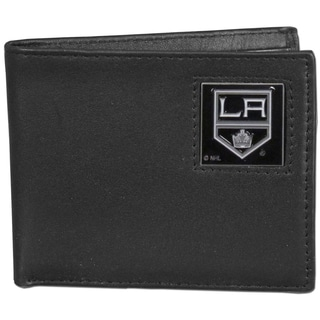 NHL Black Leather Los Angeles Kings Bi-fold Wallet in Gift Box