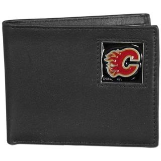 NHL Calgary Flames Black Leather Bi-fold Wallet in Gift Box