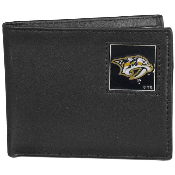 NHL Nashville Predators Black Leather Bi-fold Wallet in Gift Box