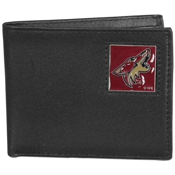 NHL Arizona Coyotes Black Leather Bi-fold Wallet in Gift Box