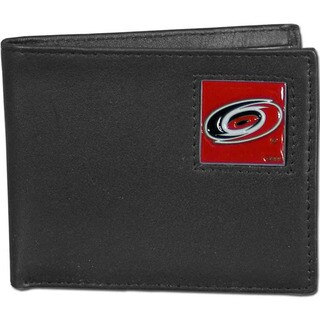 NHL Carolina Hurricanes Black Leather Bi-fold Wallet in Gift Box