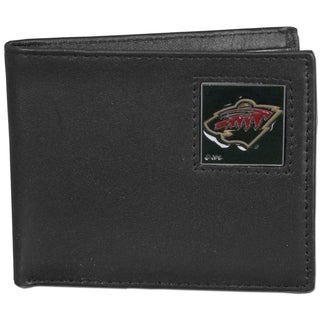 NHL Minnesota Wild Black Leather Bi-fold Wallet