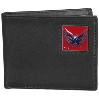NHL Washington Capitals Black Leather Bi-fold Wallet in Gift Box